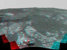 This 360-degree stereo panorama assembled<br /> from images taken by the navigation<br /> camera on NASA&#39;s Mars Exporation Rover<br /> The image combines views from the left<br /> eye and right eye of the Pancam to appear<br /> three-dimensional when seen through blue-<br /> red glasses with the red lens on the left<br /> Image credit: NASA/JPL-Caltech/Cornell/<br /> Arizona State Univ. <br /> <a href='http://www.nasa.gov/mission_pages/mer/multimedia/pia16709.html' class='bbc_url' title='External link' rel='nofollow external'>&#8250; Full image and caption</a>